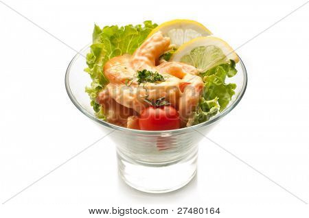 shrimp cocktail on white