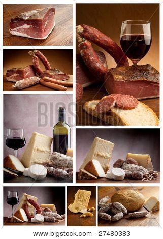 coleção de queijo italiano e salame