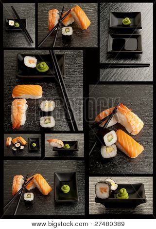 sushi collection on black background
