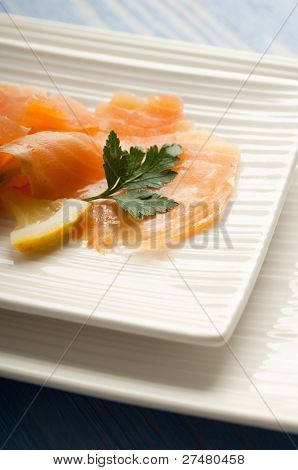 smoked salmon marinated on olive oil