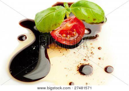 tomato and basil over balsamic vinegar