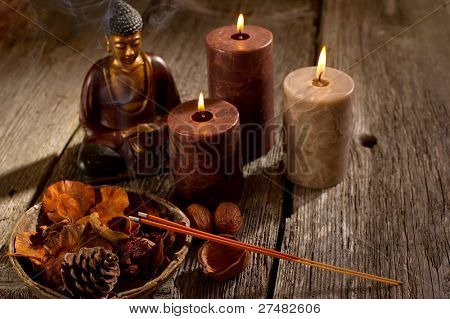 buddha with incense and candle