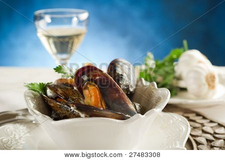 mussel soup on bowl