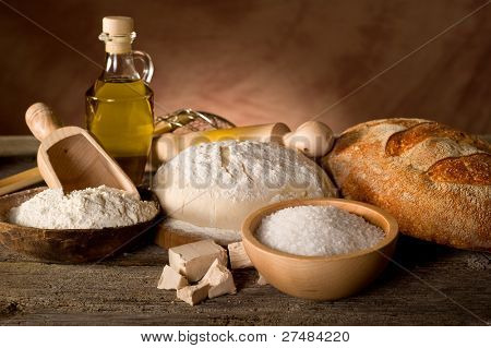 ingredients for homemade bread
