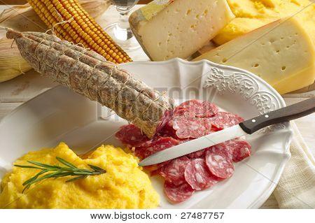polenta salami and  cheese