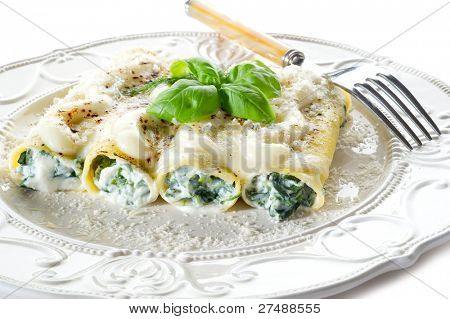 cannelloni ricotta and spinach isolated
