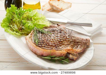 T-bone on dish