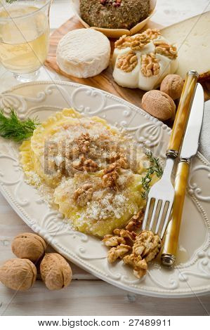 nuts ravioli with parmesan cheese
