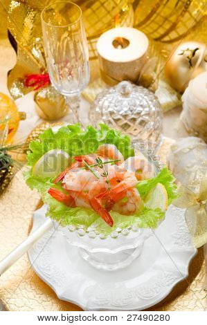 shrimp cocktail on golden table