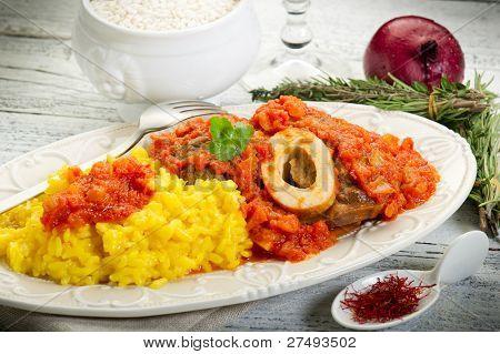 marrow bone with saffron rice typical milan recipe