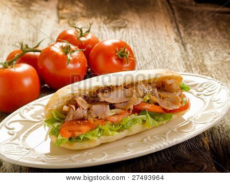 kebap sandwich on dish