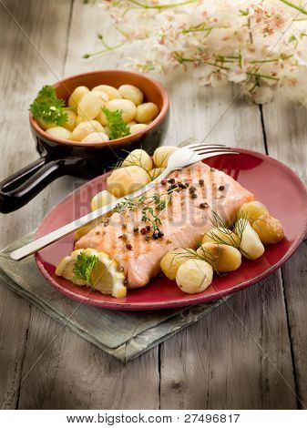 grilled salmon with roasted potatoes