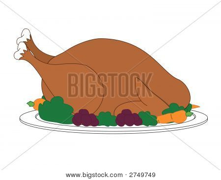 Turkey With Dressing On Plate