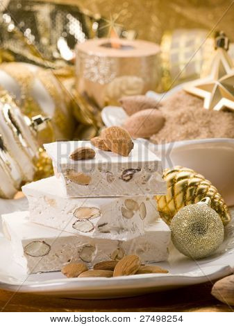 almond nougat aver christmas table