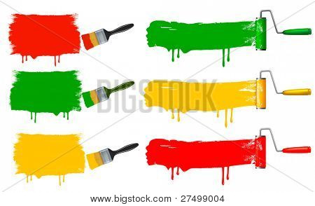 Paint brush and paint roller and paint banners. Raster version of vector.