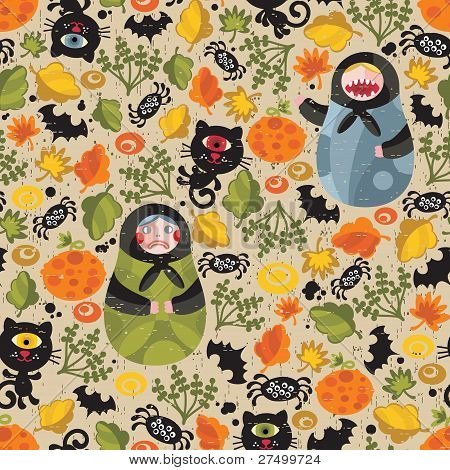 Seamless pattern with matreshka and black cats.