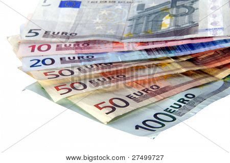 European Money An isolated shot of Euro banknotes in all sizes. A lot of white space for text.