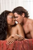 image of seminude  - Interracial Lovers  - JPG