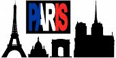 Paris Flag Text With Landmarks poster