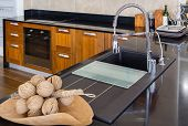 Angle View Of Kitchen Sink With Silver Faucet In Kitchen Room, Modern Counter With Sink In Kitchen R poster