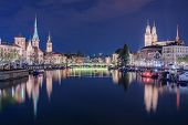 Panoramic View Of Historic Zurich City Center With Famous Fraumunster Church And River Limmat At Lak poster