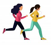 Young Woman In Sports Clothes Running. Two Girls Run A Race, Overtake Each Other. Vector Illustratio poster