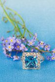 foto of forget me not  - Elegant jewelry ring with spring natural flowers forget - JPG
