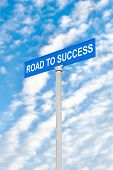 picture of inference  - A road to success street sign against a blue - JPG