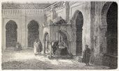 Ablution fountain in Grand Mosquee courtyard, Algiers. Created by Gaildrau, published on L'Illustrat