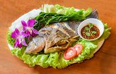 Steamed Fish On Plate / Cooking Food Tilapia Fish Steamed With Chilli Sauce Spicy And Boiled Vegetab poster
