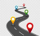 Road Infographics. Winding Road To Success With Pin Pointers. Business Journey Way. Progress Vector  poster