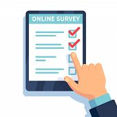 Online Survey. Internet Surveying, Hands Holding Tablet With Test Form. Mobile Questionnaire, Custom poster