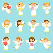 Angel Children, Angelic Boys And Girls, Winter Holiday Symbols Vector. Kids With Presents Decorated  poster
