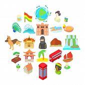 Travel Landmark Icons Set. Cartoon Set Of 25 Travel Landmark Vector Icons For Web Isolated On White  poster