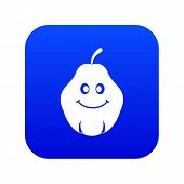 Smiling Quince Fruit Icon Digital Blue For Any Design Isolated On White Vector Illustration poster