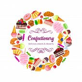 Confectionery And Sweets Layout. Vector Donut And Cotton Candy, Muffin, Waffles, Biscuits And Jelly. poster