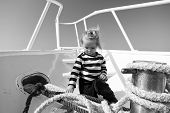 Travel In Summer Concept. Little Child Travel On Ship In Summer. Baby Boy Travel By Sea. Summer Vaca poster