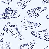 Seamless Pattern With Sneaker Shoe Flat Line Stroke Icon Pictogram Symbol Illustration Isolated On W poster