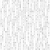 Background With Digits On Screen. Binary Code Zero One Matrix White Background. Banner, Pattern, Wal poster