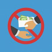 Anti Corruption Concept. Man Gives An Envelope With Money Another Man. Businessman Giving A Bribe. C poster