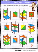 Iq And Spatial Skills Training Educational Math Puzzle: Find The Top View For Every Object - Colorfu poster