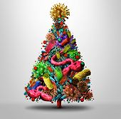 Christmas Holiday Flu Season And Winter Illness Medical Health Concept As A Festive Seasonal Tree Ma poster