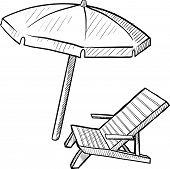 pic of family vacations  - Doodle style beach chair and umbrella in vector format - JPG