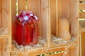 Homemade Preserves In Jar, Strawberry Drink. Fermented Healthy Natural Food Concept poster