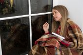 Happy New Year. Small Reader Wrapped In Plaid Sit On Window Sill. Childrens Picture Book. Magic Xmas poster