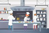 Culinary Concept Illustration Restaurant Business. Vector Illustration Cartoon Groups Cooks Working  poster