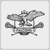 Lacrosse Club Emblem With Falcon Head. Print Design For T-shirts. poster