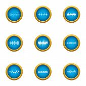 Pulse Icons Set. Flat Set Of 9 Pulse Icons For Web Isolated On White Background poster