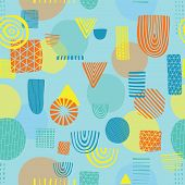 Abstract Shapes Seamless Vector Pattern. Triangles, Circles, Rectangles, Half Circles Orange, Yellow poster