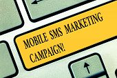 Conceptual Hand Writing Showing Mobile Sms Marketing Campaign. Business Photo Text Advertising Commu poster